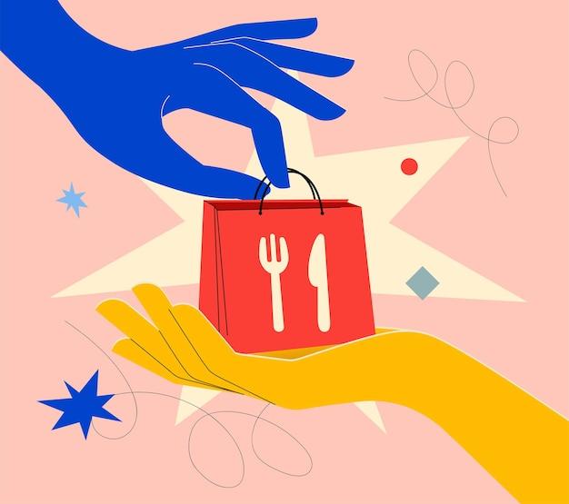 손으로 밝은 색상의 음식 배달 배너 개념은 다른 손에 음식이 든 가방을 줍니다