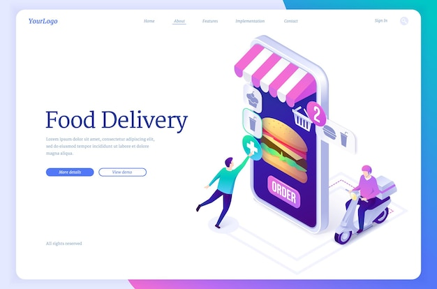 Food delivery banner online service for order from restaurant or store with fast shipping vector lan...