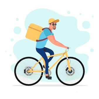 자전거로 음식 배달. 등 뒤에 상자가있는 사이클리스트. 생태 음식 배달 개념. 삽화