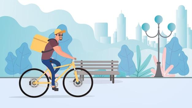 자전거로 음식 배달. 자전거를 탄 남자가 공원을 탄다. 자전거 배달 개념. 벡터 재고 일러스트 레이 션.