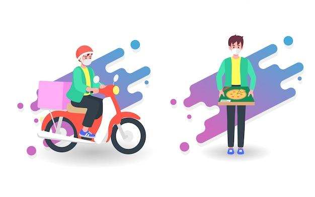 Доставка еды курьером на мотоцикле. концепция онлайн-сервиса в условиях карантина из-за коронавируса или пандемии covid-19.