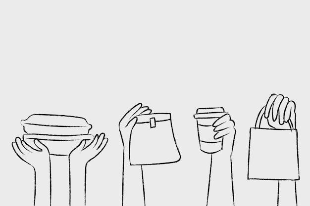 Vettore di doodle di consegna cibo con imballaggi ecologici