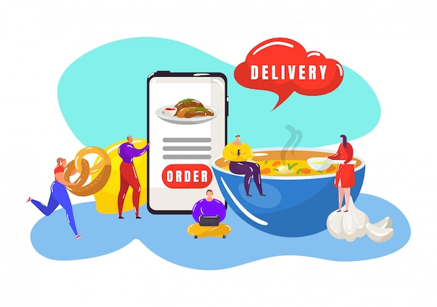 Быстрая доставка еды с онлайн заказ еды на мобильный телефон, экспресс-обед и ужин, доставка рекламы иллюстрации. ресторан экспресс доставка еды с крошечными людьми и ч