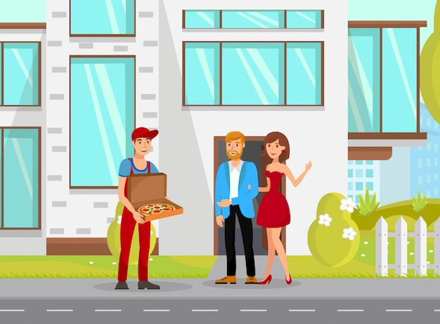 Food delivery flat vector cartoon illustration