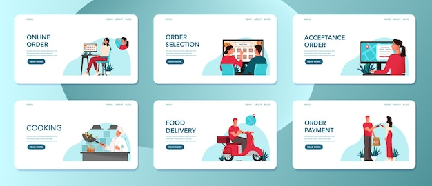 Food delivery from food service to client set. woman ordering food, chef preparing and courier delivering. online delivery web banner set.    illustration