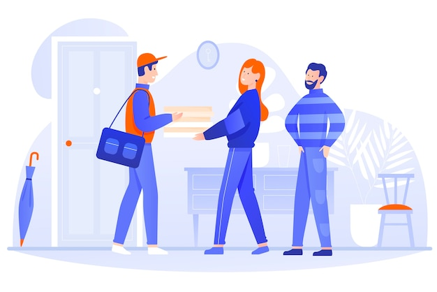 Food delivery home  illustration. cartoon happy postman courier character delivers box to clients couple people, holding package with food in hands.  fast delivery service  on white