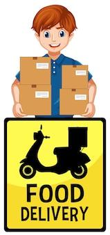 Логотип доставки еды с доставщиком или курьером