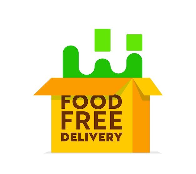 白い背景で隔離のオープンカートンボックスとフードデリバリーロゴ。レストランまたはカフェの注文または食料品のエクスプレス輸送のエンブレム、製品の貨物または商品の配送サービス。ベクトルイラスト