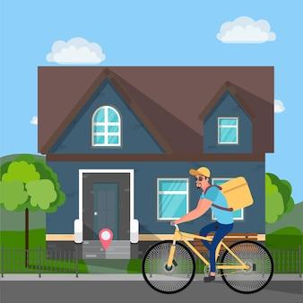 自転車に乗ったフードデリバリーマン。宅配食品。ベクトルイラスト