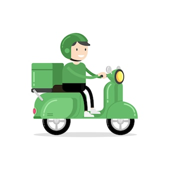Food delivery man riding a green scooter.