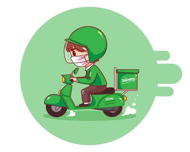 Uomo di consegna cibo in sella a motociclette, illustrazione di arte del fumetto