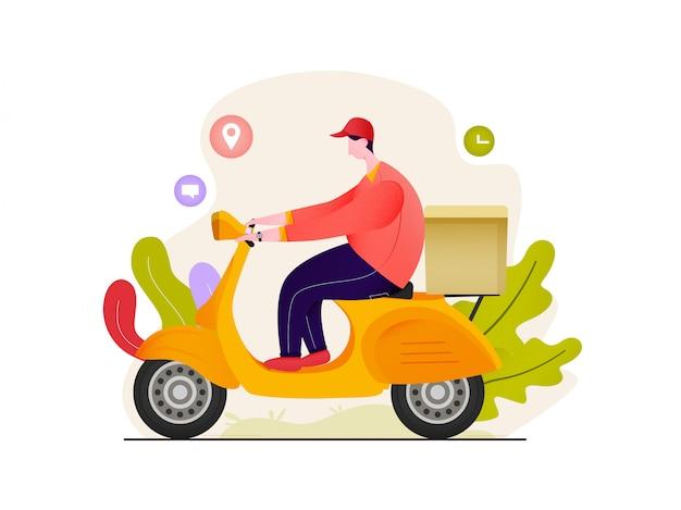 Доставка еды человек езда скутер мультипликационный персонаж иллюстрации
