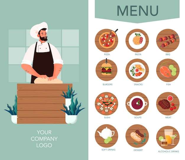 Food delivery menu brochure. european and asian cuisine. tasty food for breakfast, lunch and dinner. food delivery booklet or flyer.   illustration