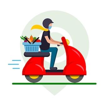Доставка еды из овощей на красном мопеде, мотоцикле через приложение на телефоне