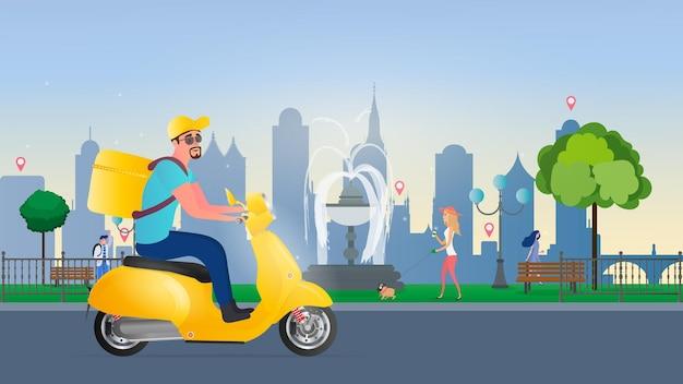 스쿠터로 음식 배달. 노란색 배낭을 든 남자가 공원을 운전합니다. 노란색 오토바이. 음식 주문 및 배달의 개념. 벡터 일러스트 레이 션