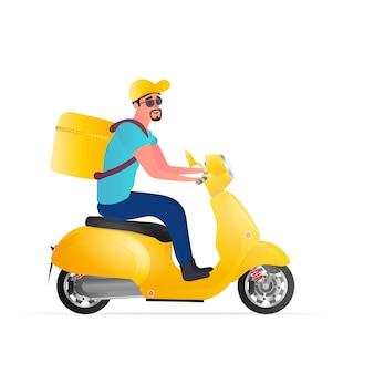 스쿠터로 음식 배달. 노란색 배낭을 든 남자가 공원을 운전합니다. 노란색 오토바이.