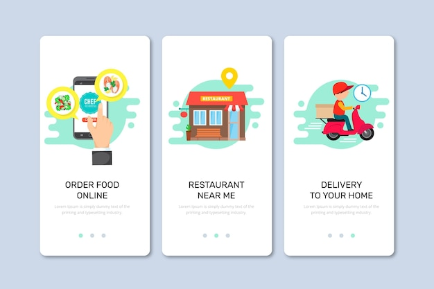 Food delivery onboarding screens for application