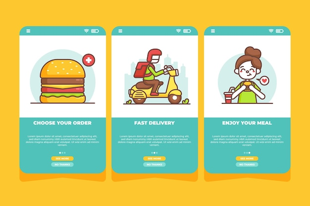 Food delivery - onboarding screens
