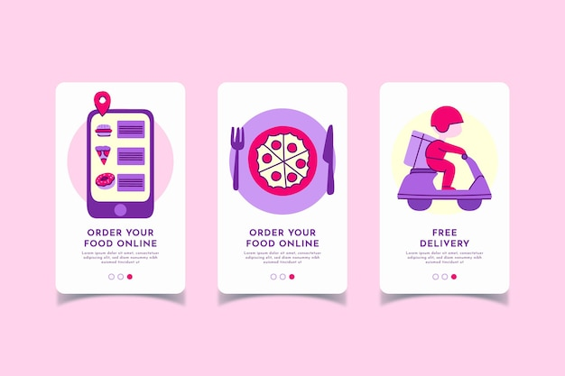 Food delivery onboarding screens