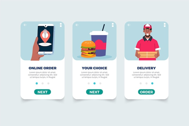 Food delivery onbooard screens app