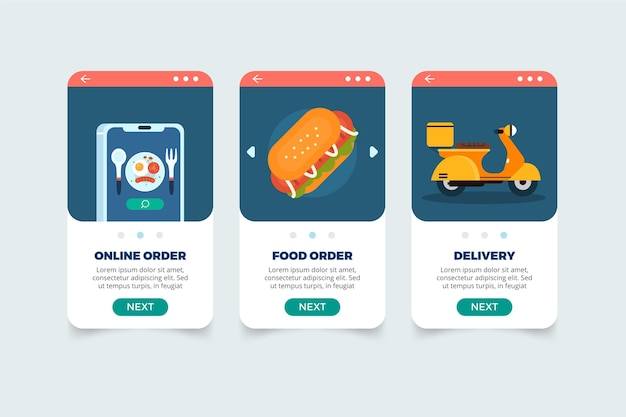 Food delivery onbooard screens concept