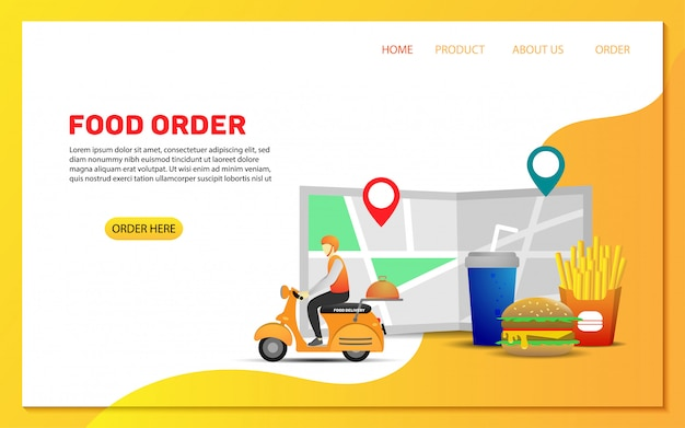 Food delivery order landing page template