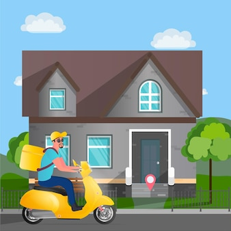 Food delivery on a scooter. a guy with a yellow backpack drives through the park. yellow moped. the concept of food orders and delivery. vector illustration
