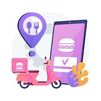 음식 배달 서비스 추상적 인 개념 그림입니다. 온라인 음식 주문, 7 일 24 시간 서비스, 피자 및 스시 온라인 메뉴, 결제 옵션, 무 접점 배송, 앱 다운로드
