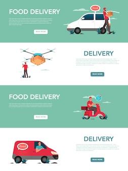 음식 배달 서비스 광고 배너 또는 웹 사이트 헤더 세트. 트럭과 스쿠터에서 상자와 제복을 입은 택배. 물류.