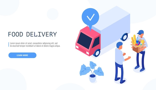 음식 배달 서비스 개념. 배달원은 남성 고객에게 음식이 담긴 상자를 제공합니다.