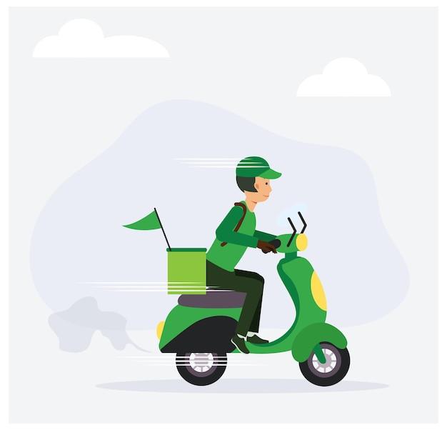 フードデリバリーサービスのコンセプト、男性ドライバーがスクーターに乗ってフードを配達します。