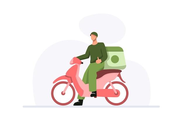 バイクを使って親指を立てるスタッフによるフードデリバリーサービスのコンセプト