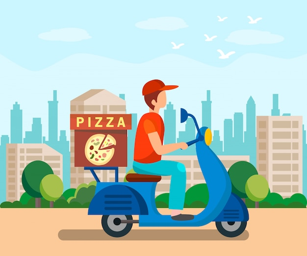 Food delivery service flat vector illustration