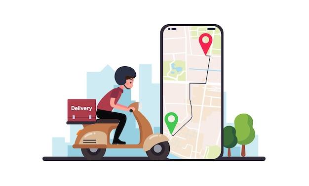 フードデリバリーサービス。宅配便付きスクーターによるフードデリバリーサービス。原付で配達人を追跡するモバイルアプリケーションを持っている手。街のスカイライン