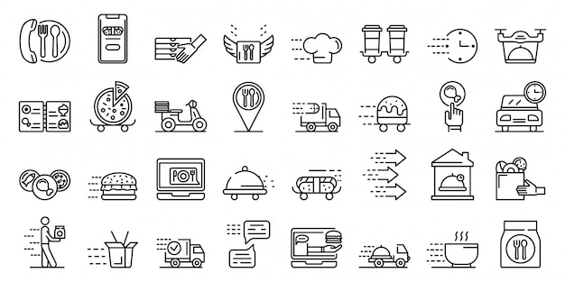 Food delivery service icons set, outline style