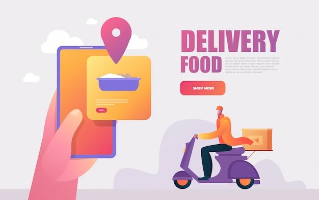 Служба доставки еды. мобильное приложение. молодой мужской курьер с большой рюкзак, езда на мотоцикле. плоские редактируемые иллюстрации, картинки.