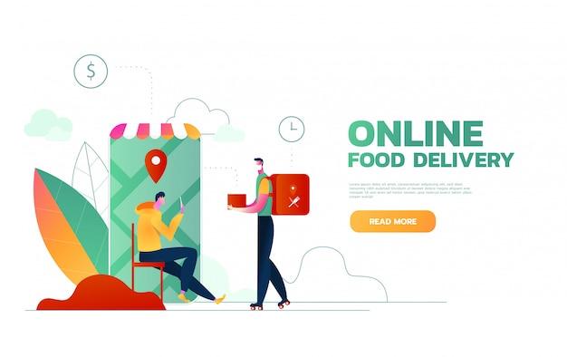 Служба доставки еды. мобильное приложение. молодой курьер-мужчина с большим рюкзаком на мотоцикле. плоские редактируемые иллюстрации, картинки.