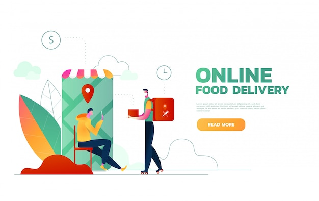 Food delivery service. mobile application. young male courier with a large backpack riding a motor bike. flat editable illustration, clip art.
