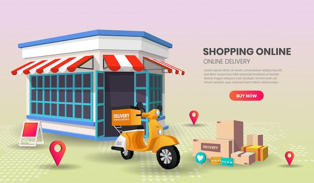 자전거 운송, 온라인 운송 응용 프로그램, 화면에 gps 마크가있는 스마트 폰이있는 음식 배달 서비스 관점 방문 페이지.