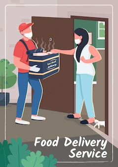 Food delivery service poster flat template