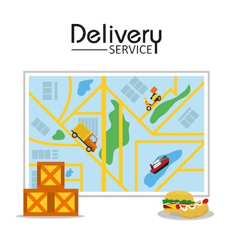 Food delivery service vector illustration graphic design