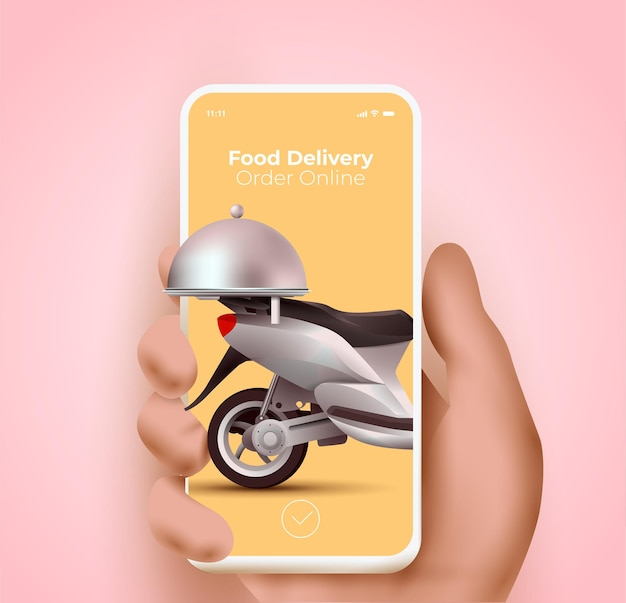 Веб-сайт службы доставки еды или мобильное приложение и концепция онлайн-заказа еды