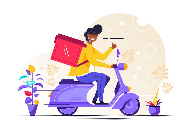 Food delivery service. young male courier with a large backpack