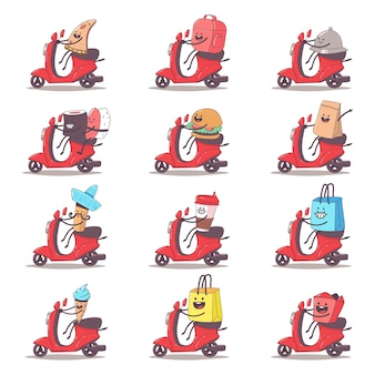 Food delivery set cartoon illustration isolated