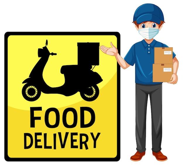 Segno di consegna del cibo con uomo di consegna che indossa la maschera