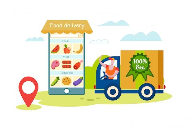 Приложение для доставки еды для смартфонов. человек курьер на грузовик