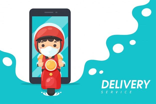 음식 배달 직원은 휴대 전화에서 오토바이를 타십시오. 고객에게 제품을 제공하려면 온라인 음식 주문 아이디어