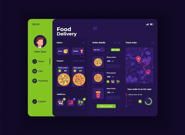Food delivery tablet interface template. mobile app page night mode design layout. ordering menu screen. flat ui for application. pizza, ingredients and drinks on portable device display