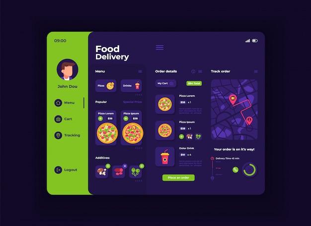 食品配達タブレットインターフェイステンプレート。モバイルアプリページの夜間モードのデザインレイアウト。注文メニュー画面。アプリケーションのフラットui。ポータブルデバイスのディスプレイ上のピザ、食材、飲み物
