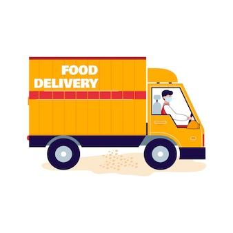 Грузовик доставки еды или фургон мультяшный значок иллюстрации на белом
